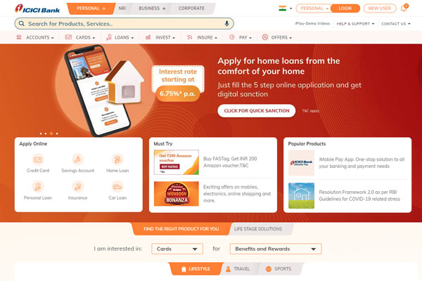 Go to the official ICICI Bank website