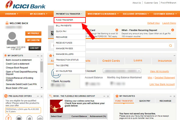 click on fund transfer from the drop-down menu