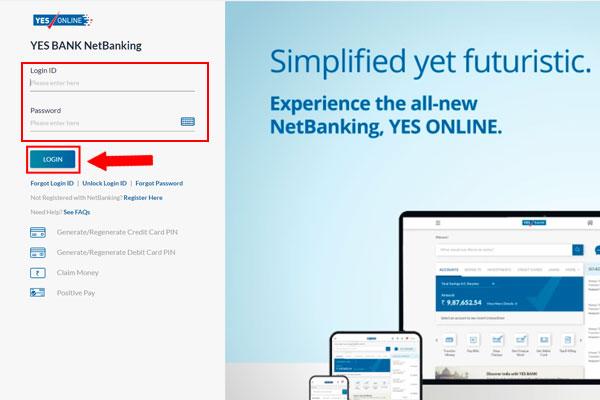 Yes Bank Netbanking Login page