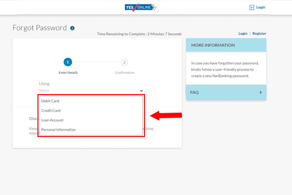Yes Bank Netbanking Forgot Password
