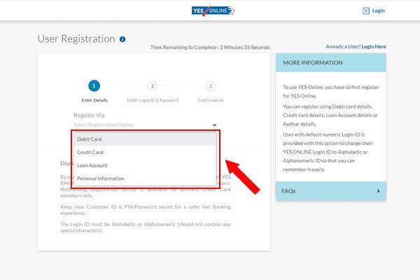 Yes Bank User Registration