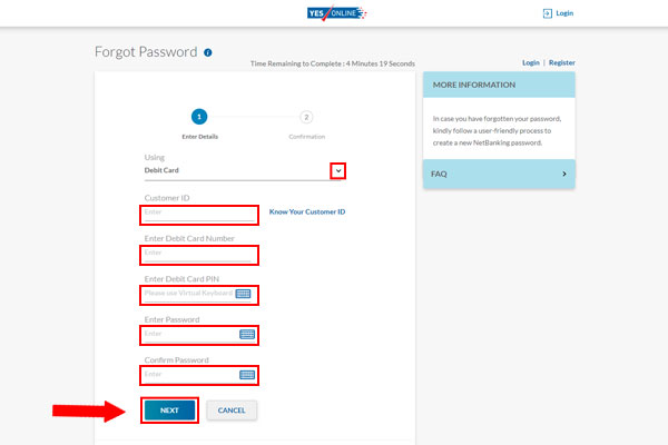 Yes Bank Forgot password screenshot